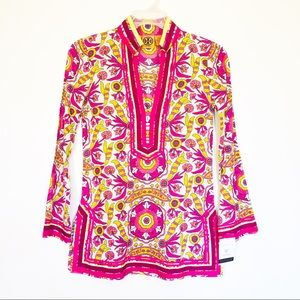 Tory Burch Womens Cotton Tunic Blouse Pink Floral